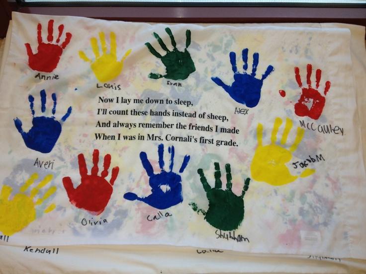 Handprint Pillowcases Cr Student Gift Ideas Pinterest