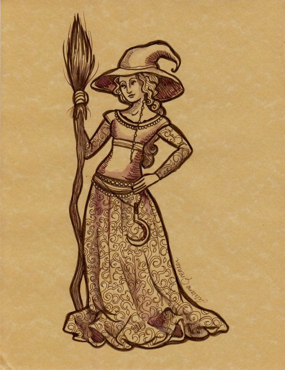Medieval Witch Original ink by LilianeG on Etsy