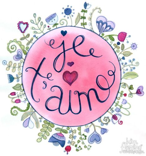 Je T'aime - I love you floral design and illustration done with watercolours and pen