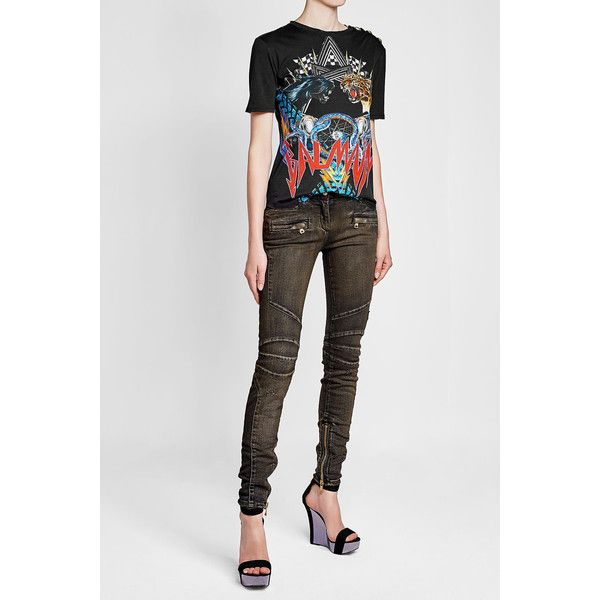 Biker Jeans Balmain ❤ liked on Polyvore featuring jeans, biker denim jeans, shiny jeans, biker jeans, zip jeans and balmain jeans