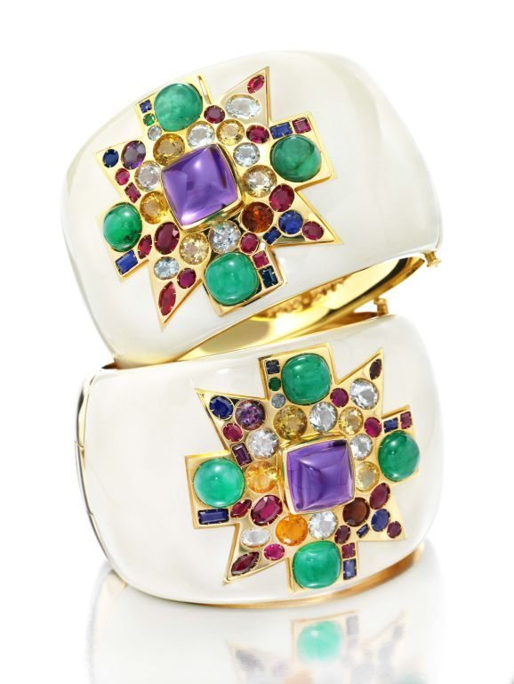 Verdura Maltese Cross cuffs set with emerald, sapphire, ruby, amethyst, aquamarine, topaz, citrine, prasolite, enamel in gold