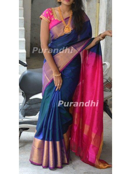 b3913b7bf56d3a Peacock blue uppada pattu saree with contrast pink border and pallu ...