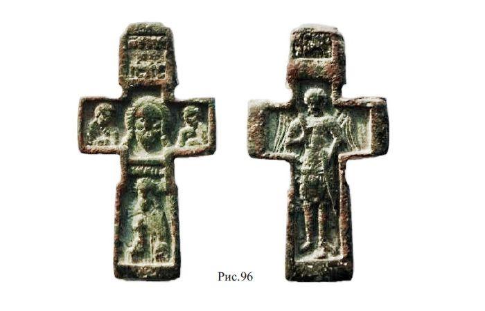 Двусторонний крест XVI в. с изображением Спаса Нерукотворного и избранных святых на лицевой стороне и архангела Михаила на оборотной стороне