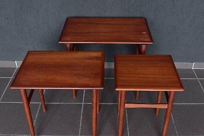 Teakholz Satztische 3er Set side table nesting tables Dreisatztische Denmark