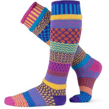 "Life is too short for matching socks, especially when you can wear these fun and beautiful Solmate Socks!   The Knee High version of the ever-so-popular Carnation sock, with a beautiful array of colors that are too pretty to pass up! Colors in this sock: fuchsia, purple, turquoise, yellow, orange. Fits comfortably all calf sizes up to 15""."