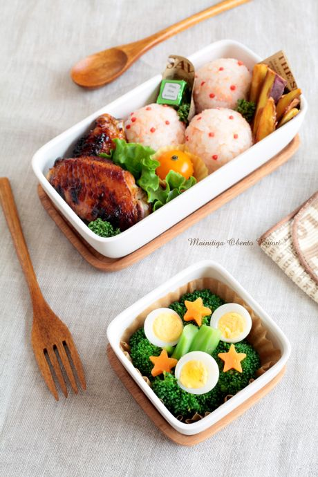 Rice ball with Salmon flakes, broccoli and eggs.