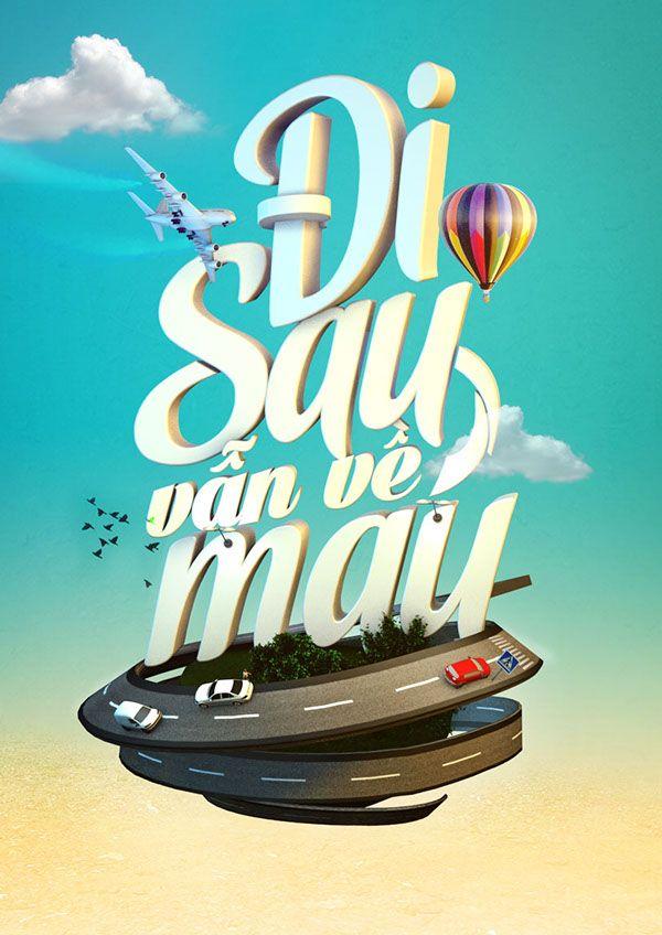 Di sau van ve mau - 3D typo version by Minh Pham, via Behance