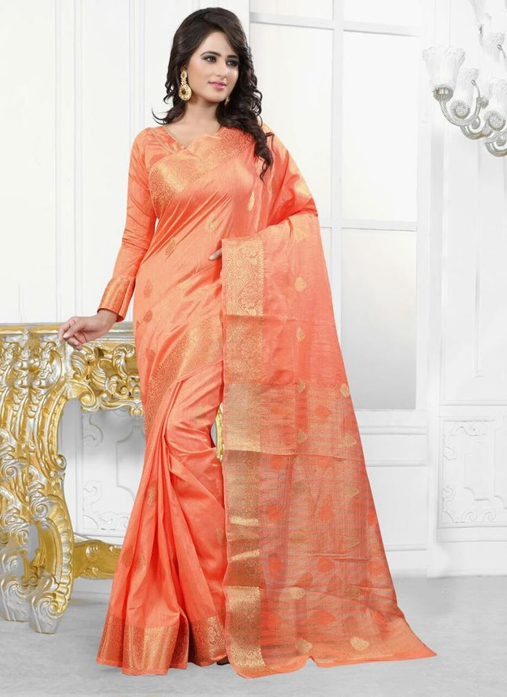 Online saree shopping made easy! Shop this conspicuous orange designer saree for festival and party.