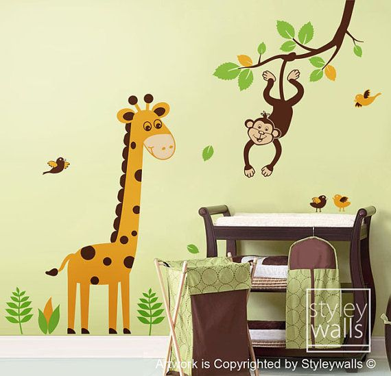 Tree Wall Decal Giraffe Wall decal Jungle Animals Monkey swinging from Branch and Cute Giraffe - Nursery Kids Baby room Vinyl Wall Decal