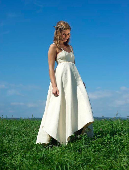 Custom eco cotton hemp asymmetrical wedding dress $850