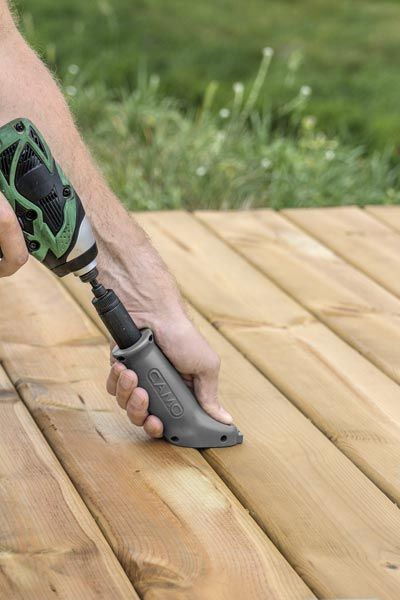 This spring-loaded drill attachment lets you install pressure-treated deck boards snug up against each other, fasteners buried in their edges so that when they naturally contract you'll be left with a smaller gap between boards. | Camo Marksman Edge, by National Nail Corp. | camofasteners.com