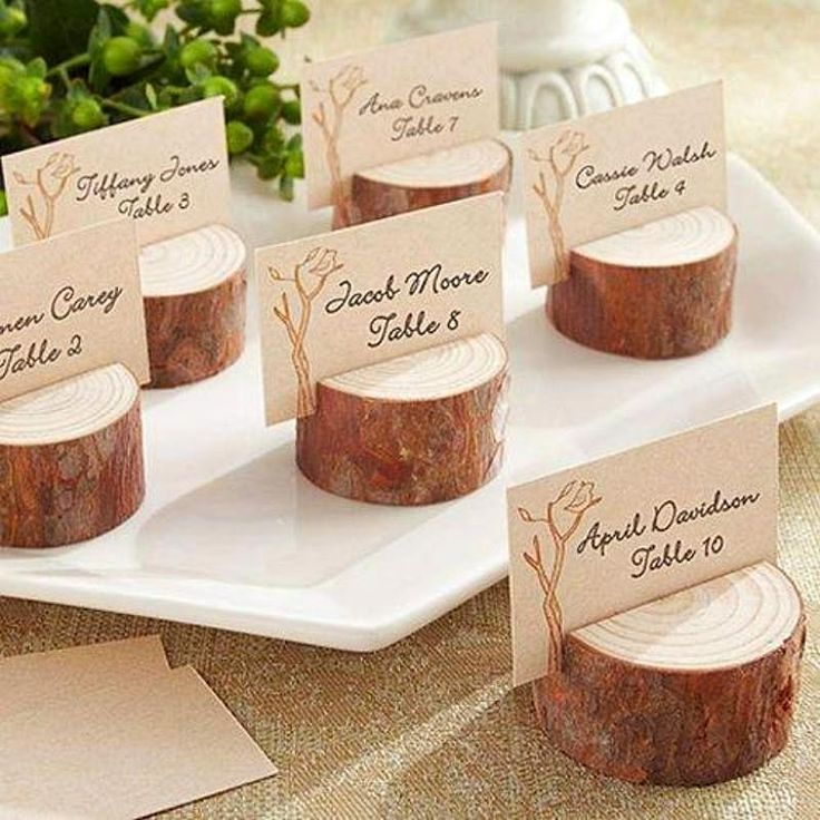 4 Pack Vintage Natural Wooden Stump Placecard Holder