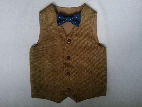 Boys  Brown  Vest  Woodland Wedding Boys Waistcoat Ring Bearer Outfit