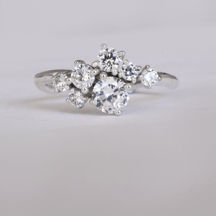 Diamond cluster ring by 27JEWELRY - one of a kind ring made to order