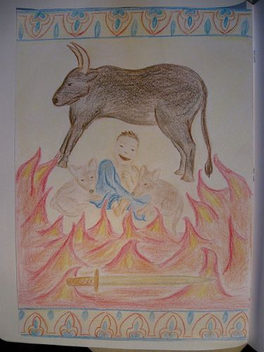 """Waldorf ~ Ancient Persia ~ main lesson book ~ """"Pictorial representation of Zarathustra as a baby being impervious to all the harm King Duransarun tried to do to him."""""""