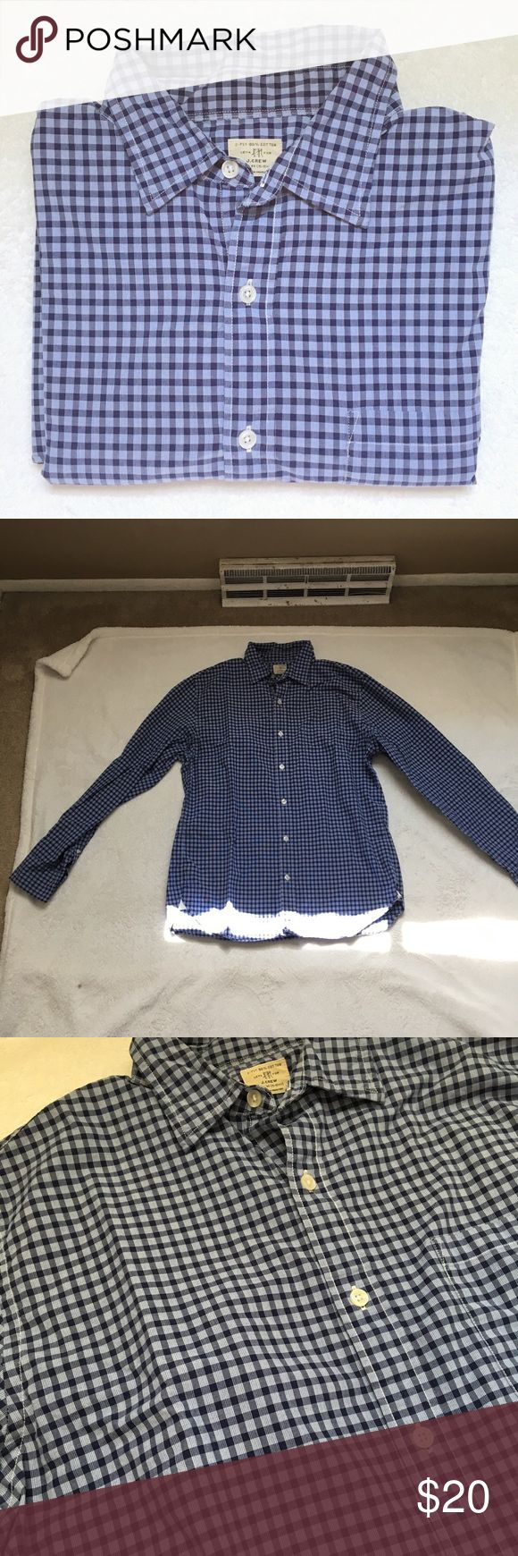 men's j crew button down J Crew men's shirt in blue checked plaid. Long sleeves, collar, buttons up front. Size medium (15-15 1/2 inch neck). Excellent condition! / j Crew, jcrew, men, men's, shirt, plaid, check, blue, navy / J. Crew Shirts Casual Button Down Shirts