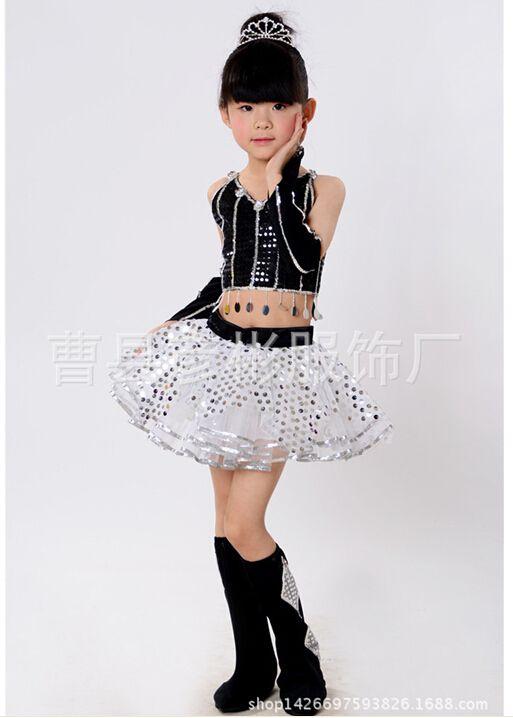 Trajes de baile de jazz para las niñas más del tamaño 6 tamaños B023  moderna princesa Tutu vestido de baile de lentejuelas jazz danc… 78159c53da4