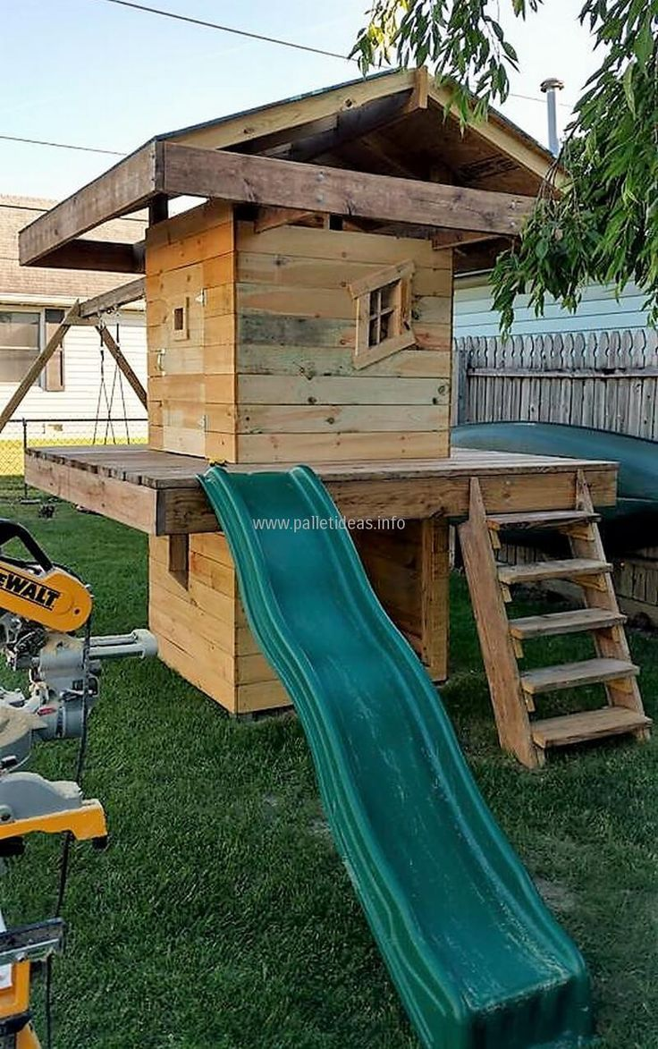 1001 pallets pallet kids playground here is a home made playground - Great Ideas Out Of Recycled Wooden Pallets