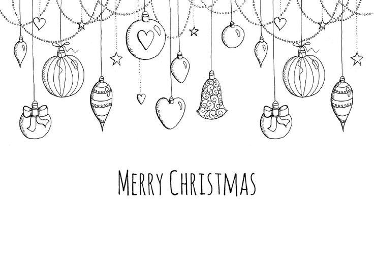 Een mooie kerstkaart met kerstballen in zwart-wit getekend, verkrijgbaar bij #kaartje2go voor €0,99