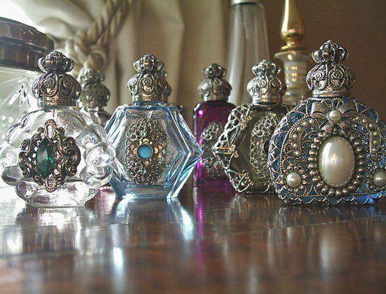 Beautiful ornate perfume bottles...