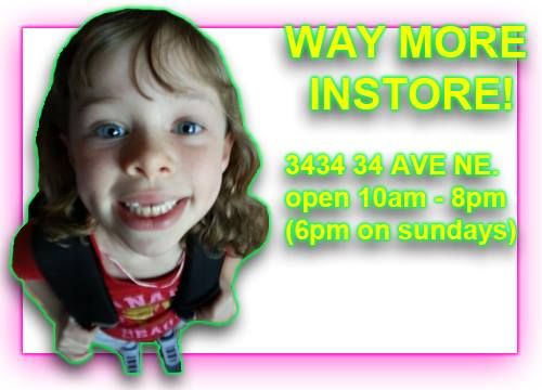 We've got WAY more in store at 3434 34 Ave NE in Calgary! A huge selection of baby and kids clothes, toys, shoes and backpacks just in time for Back to School! Click the photo to see a gallery of more items.