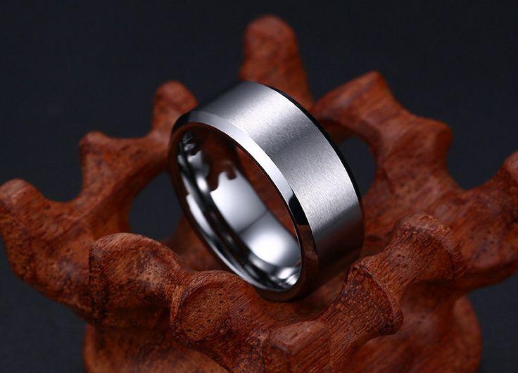 Simple Tungsten Ring Gold Ring Anti-Scratch Men Finger Ring