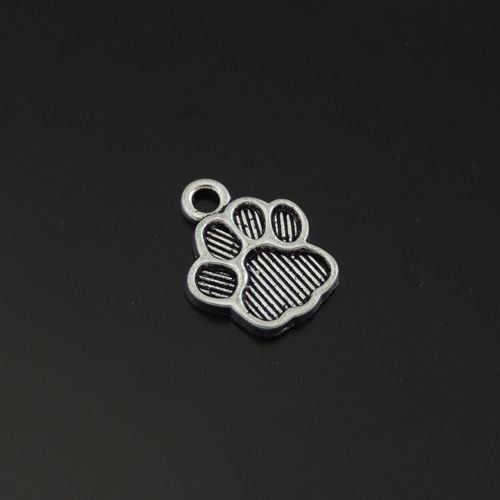39498 Vintage Silver Alloy Dog Footprint Pendant Charms 15*11*1mm 100pcs