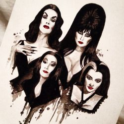 drawing art painting Personal instagram goth Morticia Addams Vampira lily munster elvira