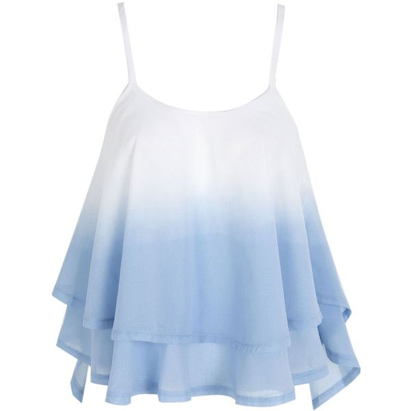 Light Blue Cross Back Layered Ruffle Faded Cami Top (535 UYU) ❤ liked on Polyvore featuring tops, chiffon top, layering tanks, cami tank, chiffon tank and blue tank top