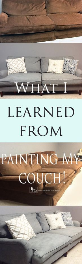 Paint truly breathed new life into my frumpy, brown couch!  Come get the do's and don't s and in and outs of painting a couch (or anything upholstered for that matter) at www.providenthomedesign.com.
