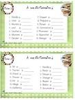 24 cartes de rimes avec choix de réponse. L'enfant lit les mots et encercle les mots qui riment au crayon effaçable.