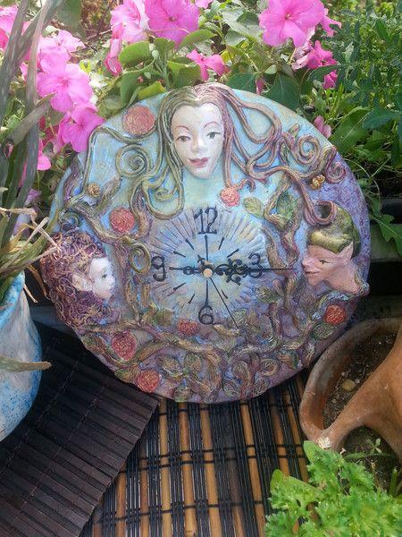 Clocks – fairytales ceramic unique wallclock – a unique product by foenxarts on DaWanda