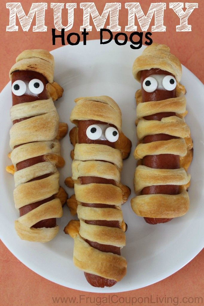 Halloween Mummy Hot Dogs Made with Pillsbury Crescent Rolls http://www.frugalcouponliving.com/2014/09/09/halloween-mummy-hot-dogs/