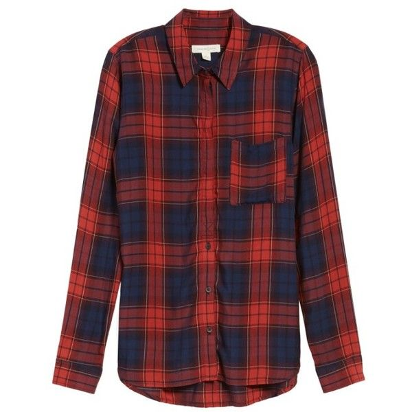 Women's Treasure & Bond Classic Plaid Shirt ($69) ❤ liked on Polyvore featuring tops, double layer shirt, plaid shirts, round top, drape top and drapey tops