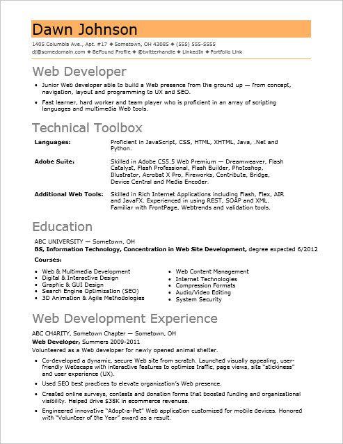 Sample Resume for an Entry-Level IT Developer