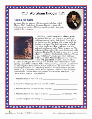 President's Day Second Grade History Worksheets: Abraham Lincoln Facts