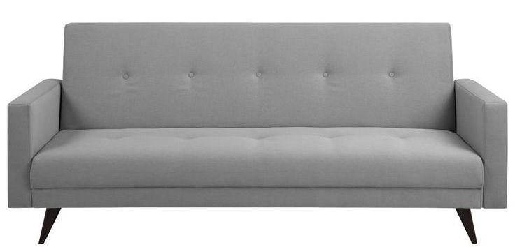 Zeppa Sovesofa - Grå - Moderne sovesofa med et minimalistisk design. Sovesofaen er betrukket med lysegrå stof og har trykknapper i sæde såvel som ryg. De flotte træben i mørkebrun fuldender det simple og klassiske look.