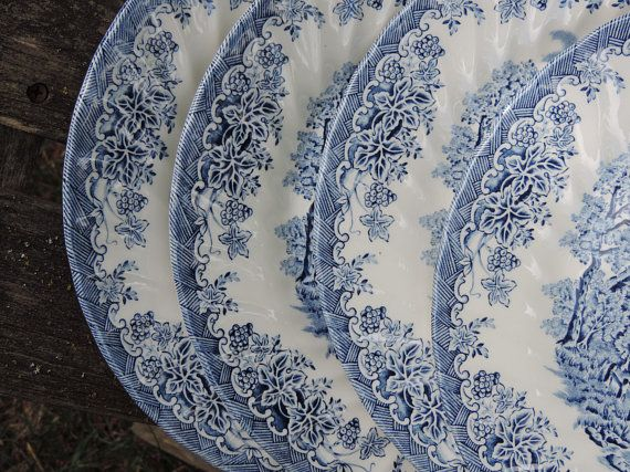 Churchill The Brook Blue Made In England Set Of 4 Dinner Plates By Churchill The Brook Pattern Blue China Blue China China Patterns Vintage