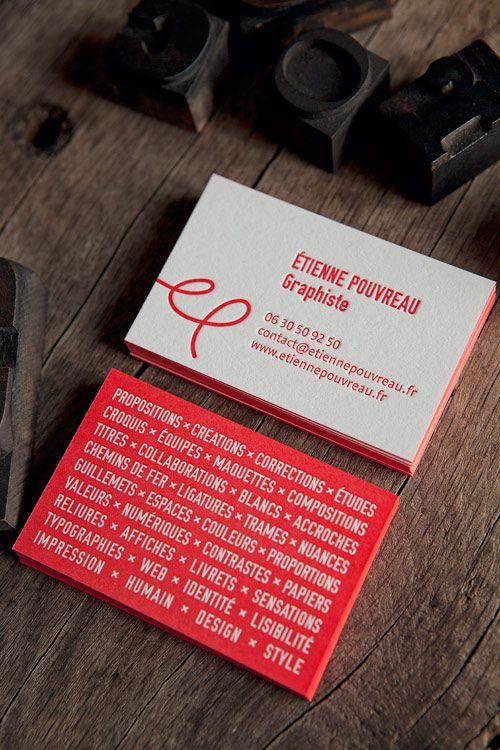 Cartes de visite rouge pantone / design Etienne Pouvreau