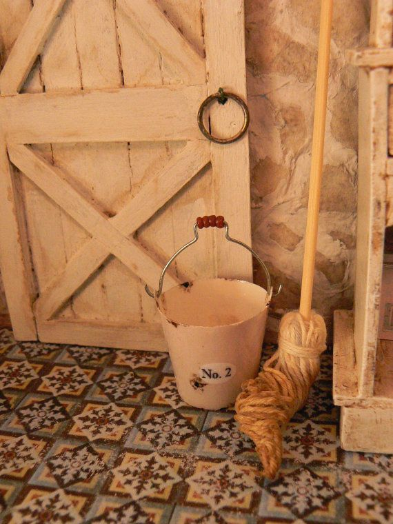 Bucket and mop for dollhouse by MiniEdenTienda on Etsy, €8.00