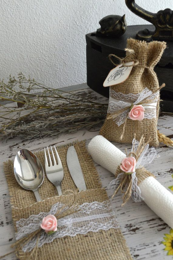 50 Burlap Silverware Holders. Burlap Cutlery by MagicalStart