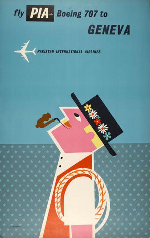 Vintage Pakistan International Airlines Poster by CA P. - Skillshare