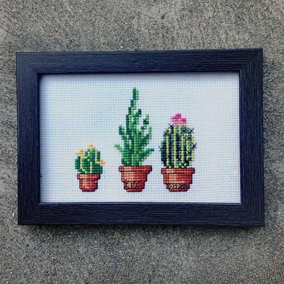 "Cacti Trio - 4"" x 6"" Framed Cross Stitch"