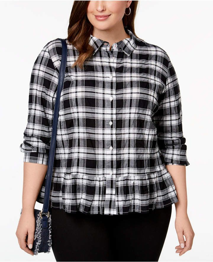 a18becb88e7 New Arrival  womensfashion  affiliate  tommyhilfiger  plustops ~ Tommy  Hilfiger Plus Size Plaid Peplum Blouse ~ Plus Size Section