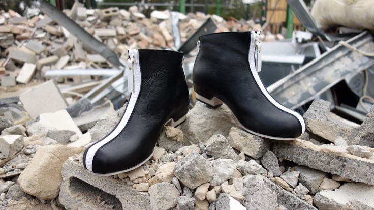 Mod Zip Boot in Black with contrast white zips, heel and sole detail. Booker&co