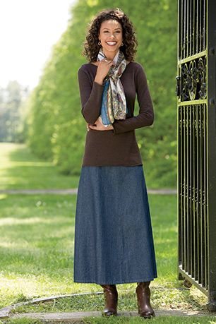 17 Best ideas about Long Denim Skirts on Pinterest | Long jean ...