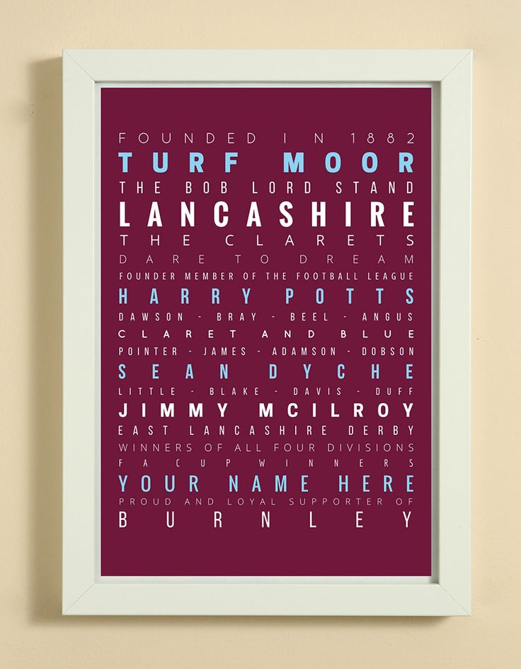 Burnley Football Club Word Art Design Print - Words, Names And Facts Associated With Burnley FC - In White Or Black A4 Box Frame