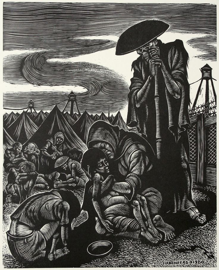 The Refugees (From The Dance of Death), Wood engraving, 1980