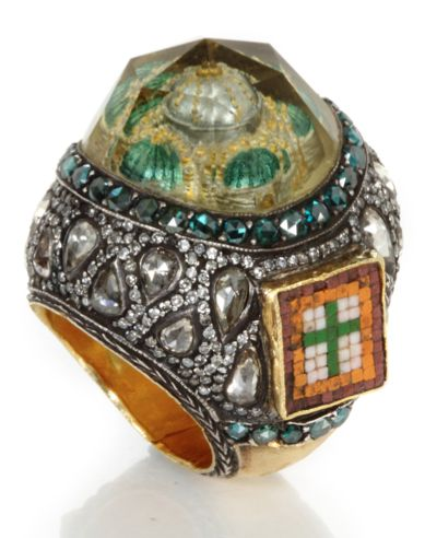 Byzance, 2007 Gold, silver, diamonds, micro-mosaic, lemon topaz with engraved intaglio inspired by byzantine churches.