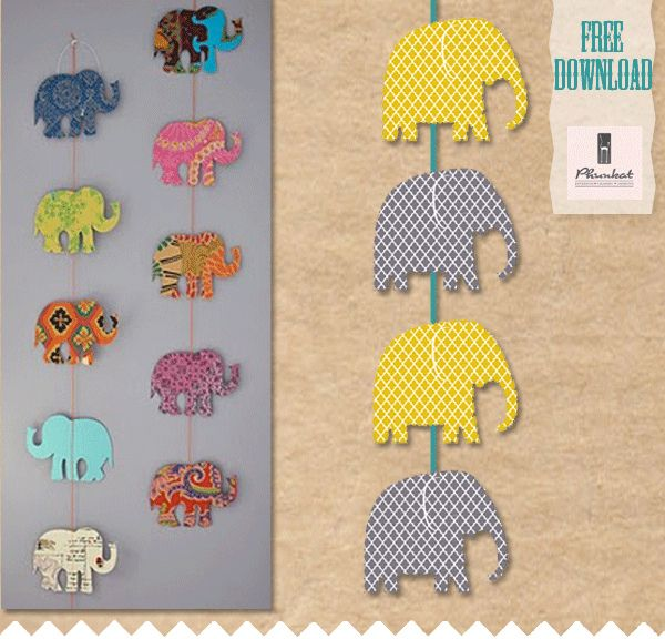 Elephant printable freebie.  Maybe hang some like this for the baby shower & some others on a bunting.